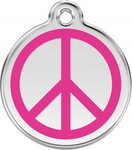 Hondenpenning vredesteken love and peace hot pink