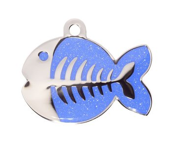 Dark blue sparkle fish kattenpenning