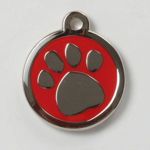 pawprint red xl hondenpenning
