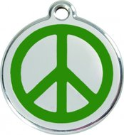 Hondenpenning vredesteken love and peace groen
