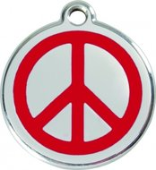 Hondenpenning vredesteken love and peace rood