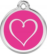 Hondenpenning hart  tribal heart hot pink